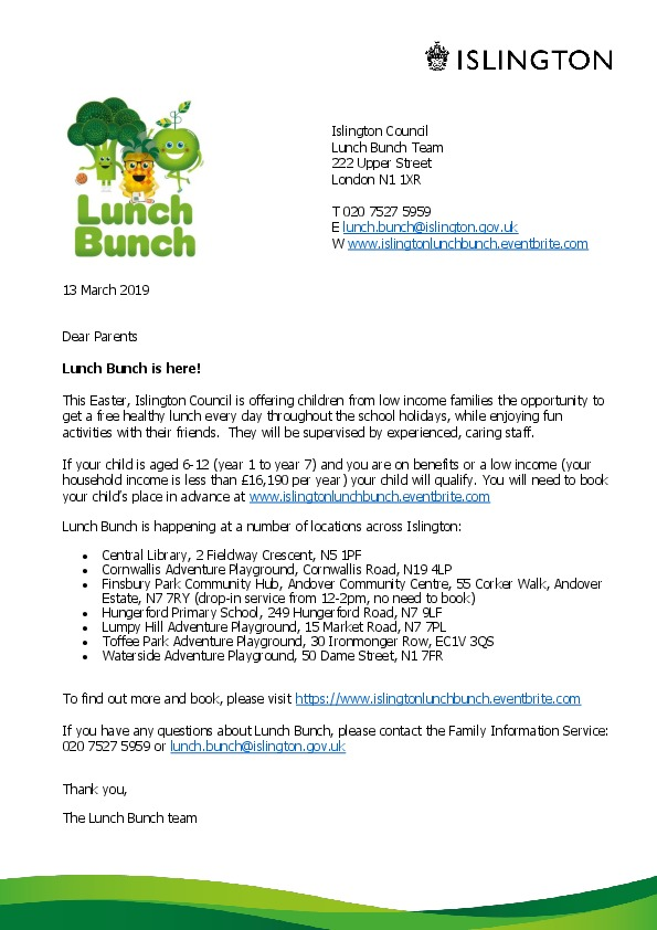 Letter to families Lunch Bunch